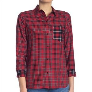 Madewell - plaid button front hi low shirt
